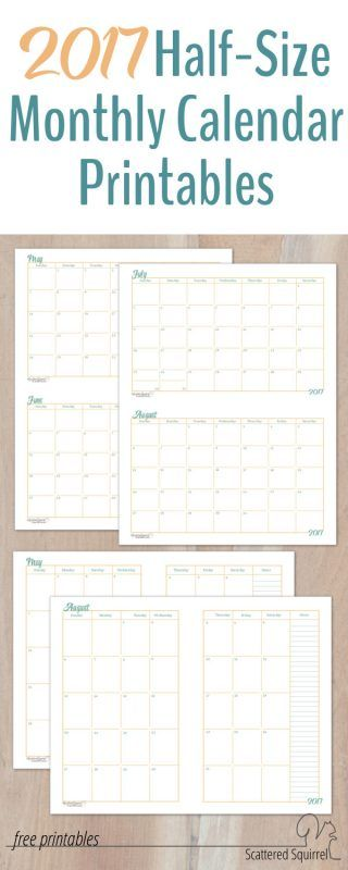 These 2017 Half-Size Monthly Calendar printables will come in handy if you have some long-term planning to do and they are a great fit for A5 planners.