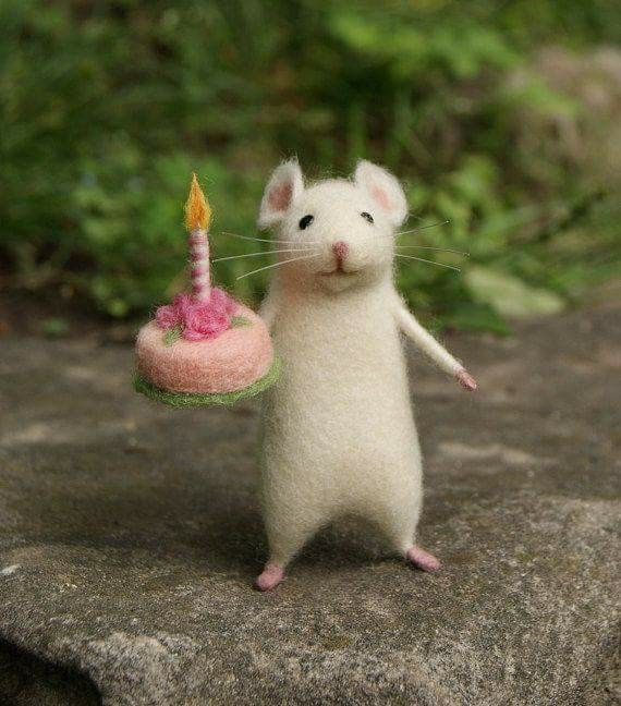 """Great present and a wonderful way to say """"Happy Birthday!"""".  The mouse is handmade of white pure wool using needle felt technique. He has bendable arms, legs and... https://www.etsy.com/listing/471151246/birthday-needle-felt-mouse-white-mouse"""