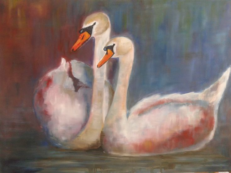 """Schilderij """"Altijd samen""""  Olieverf op doek €175,="""