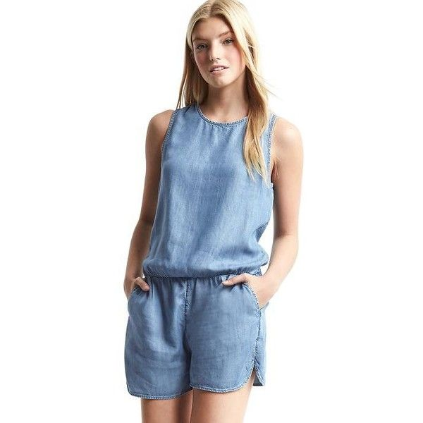 8d13347978f9 Gap Women Tencel Tank Romper ( 60) ❤ liked on Polyvore featuring jumpsuits