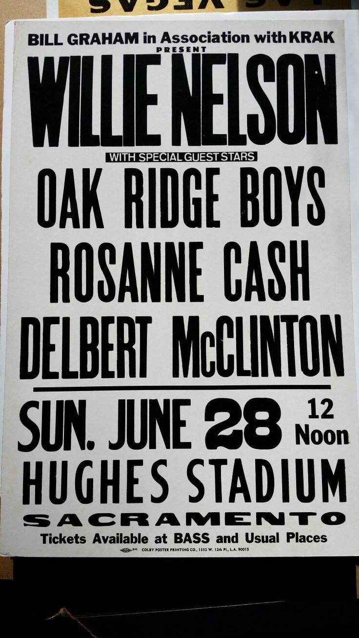 Willie Nelson Bill Graham Poster. 1981 Second annual California Picnic Sacramento California