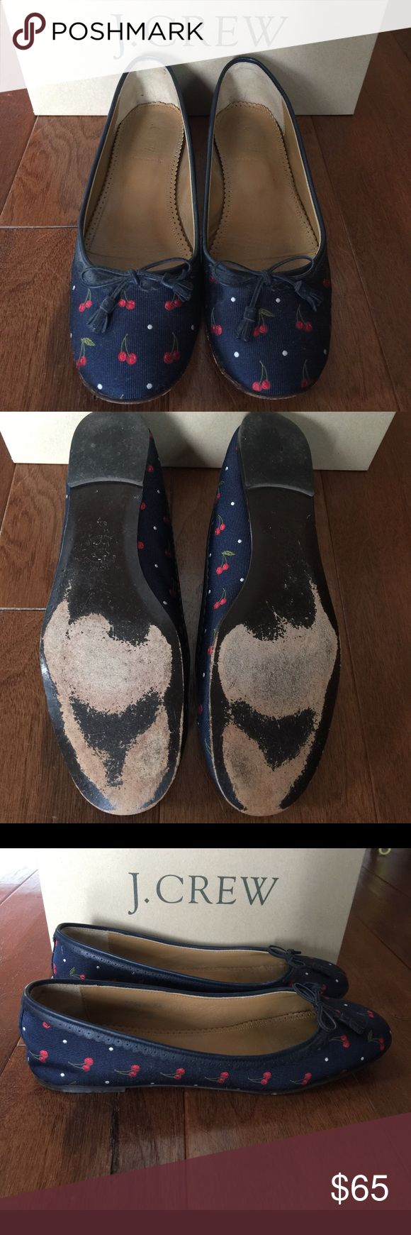 J. Crew flats Navy blue ballet flats with white polka dots and cherries! Only signs of wear are the bottoms and the logo is rubbed off of the inside. Please feel free to ask any questions:) Have only been worn a handful of times! Comes with original box. J. Crew Shoes Flats & Loafers