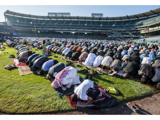 USA: Muslims praying at Angel Stadium
