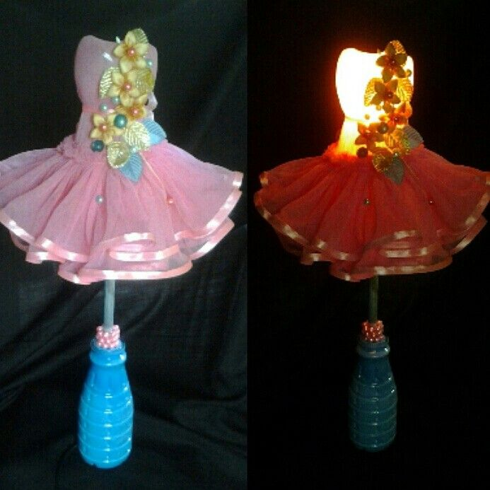 I made this lamp from two plastic bottle
