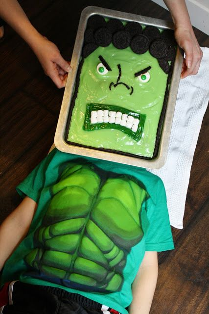 Cute Incredible Hulk birthday cake