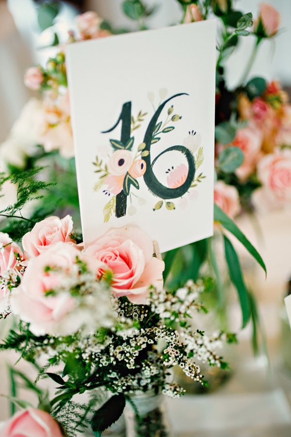 Rifle Paper Co table number - photo by Katherine OBrien Photography http://ruffledblog.com/high-school-sweetheart-summer-wedding