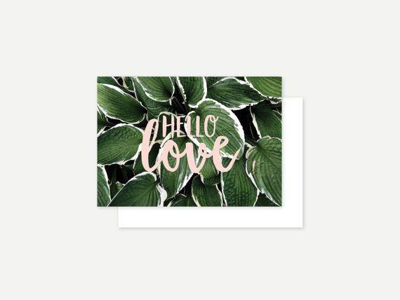 Hello love greeting card by ithinkcreative on Etsy