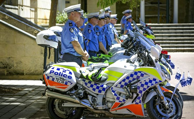 Funeral of First Class Constable Dennis Green at the Police Academy in Joondalup. Motorcycle police line up in respect.