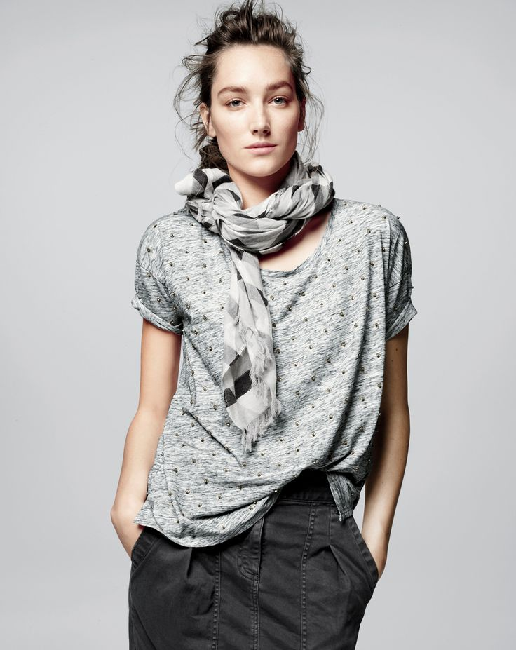 J.Crew women's sequin dot tee, never thought to put a scarf with my sequin dot tee -not sure I like it