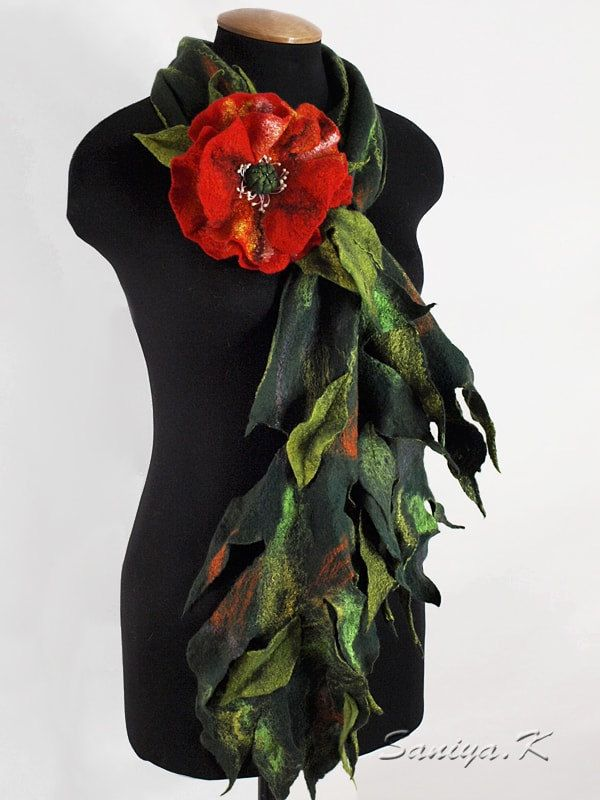 """Felted Scarf """"Poppy"""" (felted scarves green red) by SaniyaK on Etsy. The felted scarf is made on the thinnest natural silk of soft merino wool (18 microns), silk fibers, viscose and linen. Under Poppy provided loop, in which the passed other end of the scarf. A bright, mischievous, warm..."""