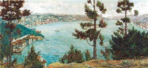 Ahmet Uzelli İstanbul Boğazı 49.00 x 105.00 cm. Tual üzerine yağlıboya