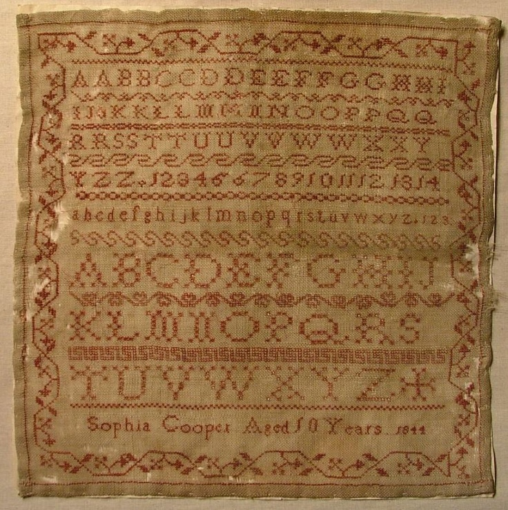 Early 19th Century Linen Silk Alphabet Sampler by Sophia Cooper 1844 | eBay sold 568.00