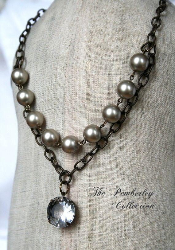 Perla y collar de cristal Finca estilo por PemberleyCollection