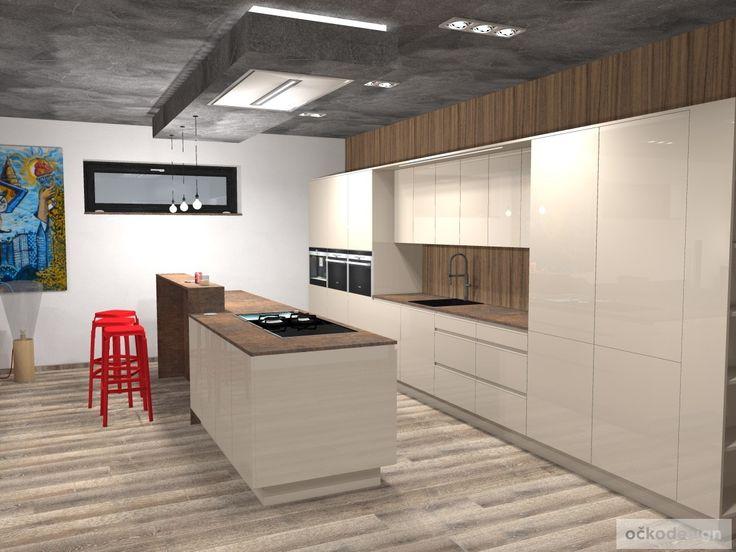 Výkonný stropní odsavač neruší pohled do kuchyně, i z ní