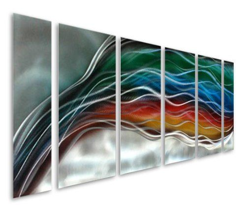 pure art colorful rainbow wave large handcrafted silver abstract metal wall art decor set
