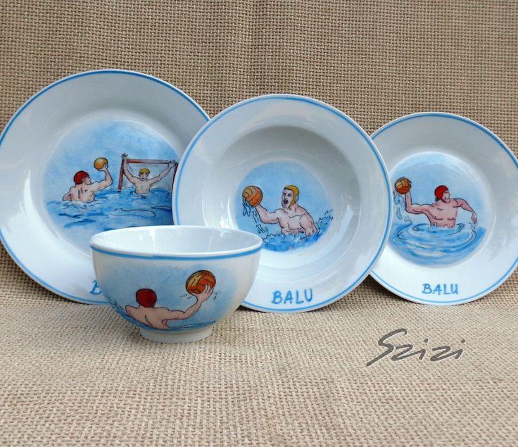 Vizilabdás étkészlet - porcelain set wit waterpolo scenes. Dishwasher proof #ajándék #fiú #étkészlet #waterpolo #PlatesForBoys #HandPainted #personalized