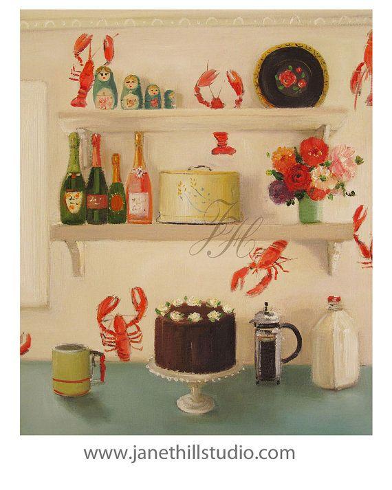 Still Life The Devil s Food Cake Art Print by ...