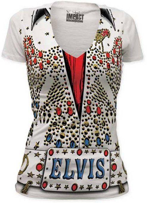 Elvis presley eagle jumpsuit women 39 s deep vee for Elvis t shirts wholesale