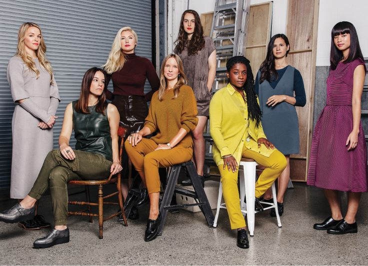 Jacqueline Poirier, 31, painter; Sarah Sands Phillips, 31, painter, printmaker; Danielle Hession, 30, mixed-media artist; Jennifer Murphy, 41, collagist; Marjan Verstappen, 25, sculptor, large-scale illustrator; Ashley McKenzie-Barnes, 31, painter; Alëna Skarina, 29, illustrator; and Jeannie Phan, 25, illustrator. Shot by Norman Wong for The Kit Compact, November 2015.