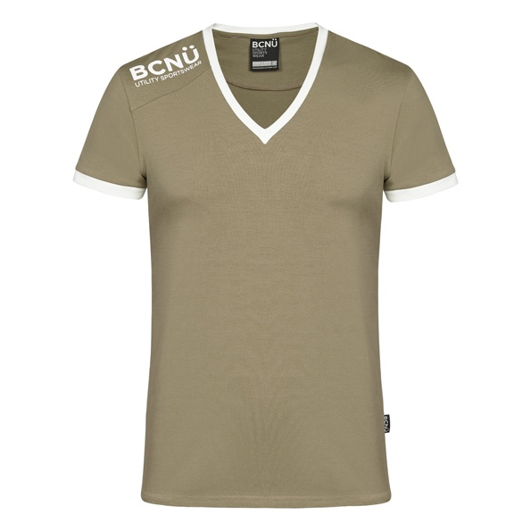 Look good and feel good in a fitted V-Neck UtiliTEE®. Made from supersoft lightweight cotton blend, this V-neck is comfortable, sleek and perfect for anyone who wants to look cool.  It's sporty design features curved design on front and back, BCNÜ Utility Sportswear Logo across the shoulder with contrasting rib around the sleeves and neck.    You'll look the part when you dress it up with a pair of jeans or shorts or even worn under a sports jacket for those cooler evenings. AUD 54.95