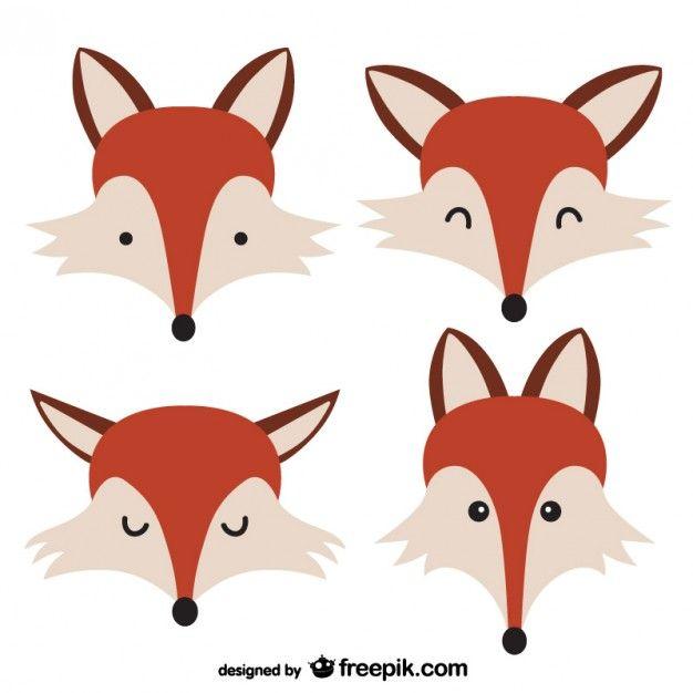 Rostos Fox Vetor grátis