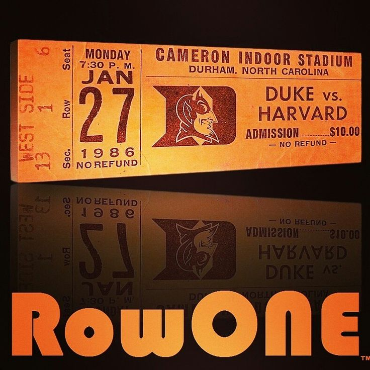 1986 Duke basketball ticket art. Row One Brand: Unique sports art and sports gift ideas. Vintage ticket art and ticket gifts made from 3,000 historic sports tickets. #gifts #giftideas #sports