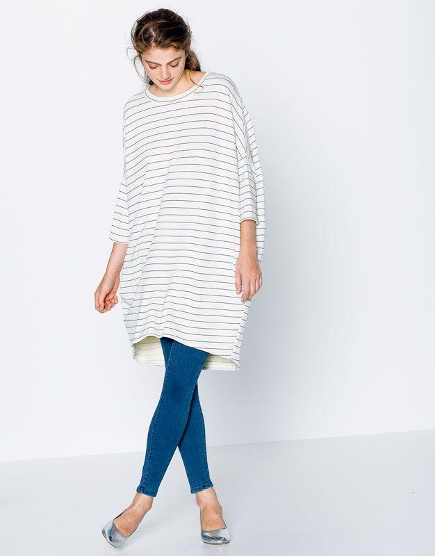 STRIPED COCOON DRESS - DRESSES - WOMAN - PULL&BEAR United Kingdom