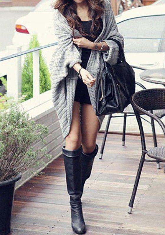 Grey Plain Dolman Sleeve V-neck Long Shawl Loose Casual Cardigan - Cardigans - Sweaters - Tops