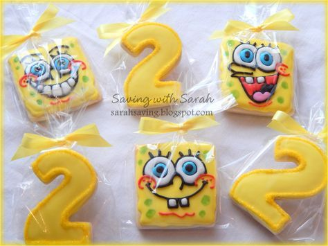Spongebob Birthday Cookies, Decorated Cookies, Sugar Cookies, Spongebob Party Favors