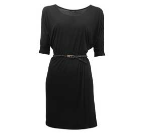 belted dress  black  size: 32-44