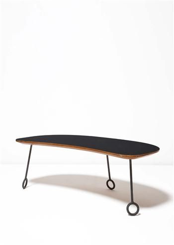 Jean Royère, Formica, Oak and Wrought Iron Coffee Table, c1957. These with those legs are called somethingorother.