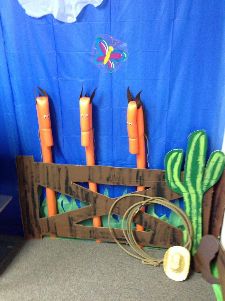 Barn scene for VBS classroom. Horses are made from swimming noodles.