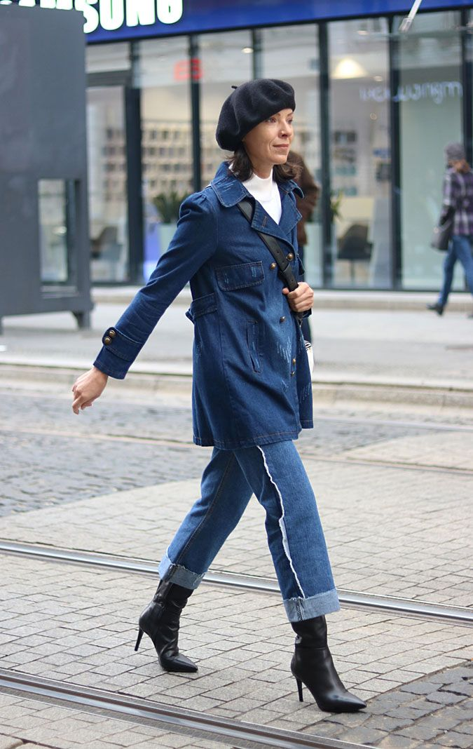 https://minimalissmo.blogspot.com/2017/11/jeansowa-kurtka-oversize.html #jeans #denim #total #look #fashion #streetstyle #dior #beret
