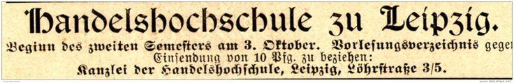 Original-Werbung/ Anzeige 1898 - HANDLES-HOCHSCHULE ZU LEIPZIG - ca. 90 X 15 mm