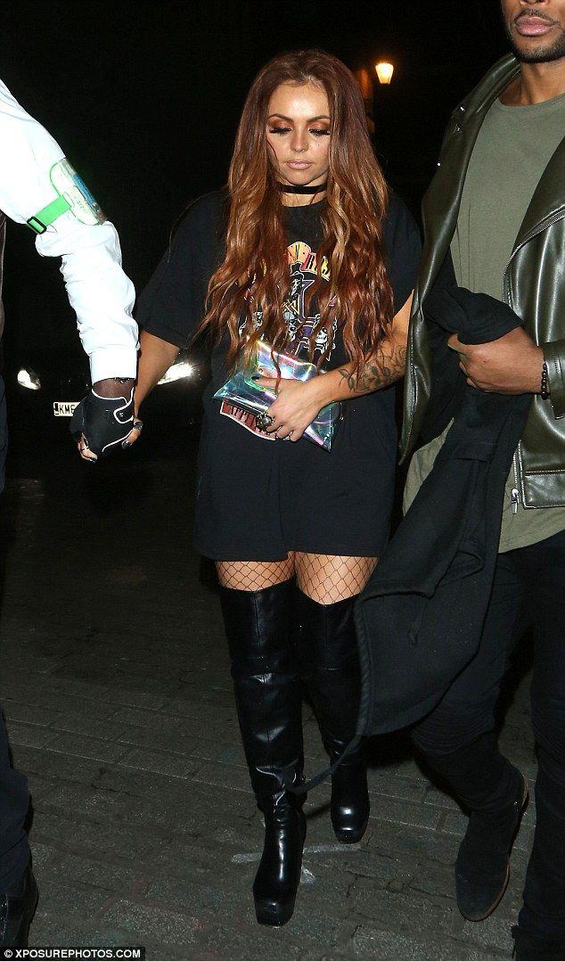 It's off! Jesy Nelson ditched her engagement ring on girls' night out with Little Mix as she was seen for the first time since 'split' from fiancé Jake Roche on Wednesday night