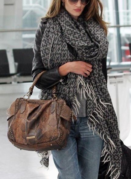 Love this combo: oversized soft nomadic print scarf + snakeskin satchel bag + pair with classics...jeans, t-shirt and motorcycle jacket.