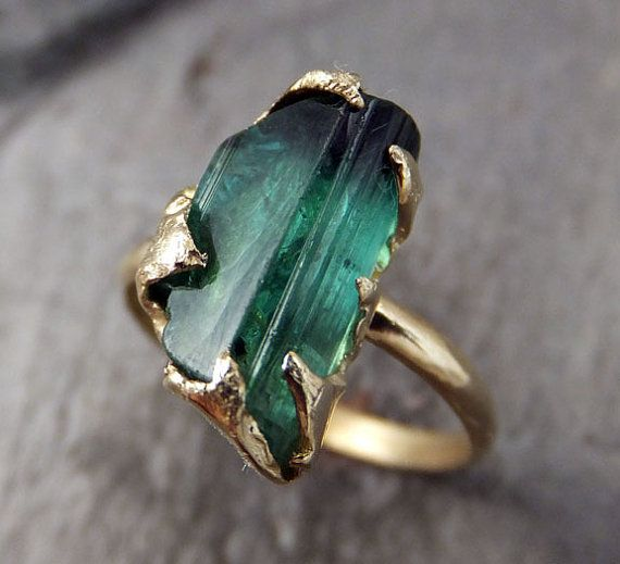 Raw Green Tourmaline Gold Ring Rough Uncut Gemstone tourmaline recycled 14k stacking cocktail statement byAngeline