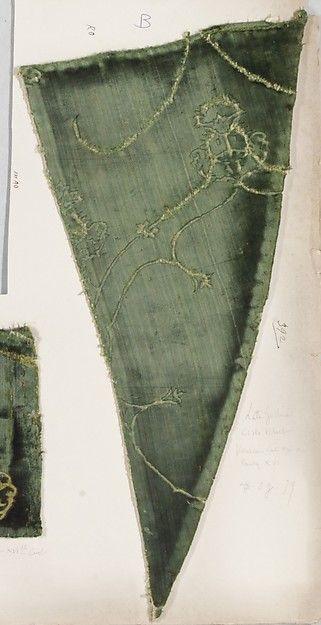 Fragment Date: 15th–16th century Culture: Italian, Venice Medium: Silk Dimensions: a: 18 x 9 3/8 in. (45.7 x 23.8 cm) b: 8 3/8 x 16 in. (21.3 x 40.6 cm) Classification: Textiles-Velvets