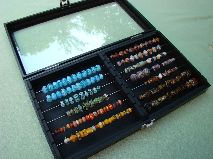 display storage tray for lampwork and european style beads two sectioned with glass lid