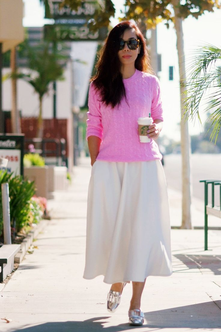 New Weekend Uniform: Metallic Loafers and Pink Cashmere Sweater