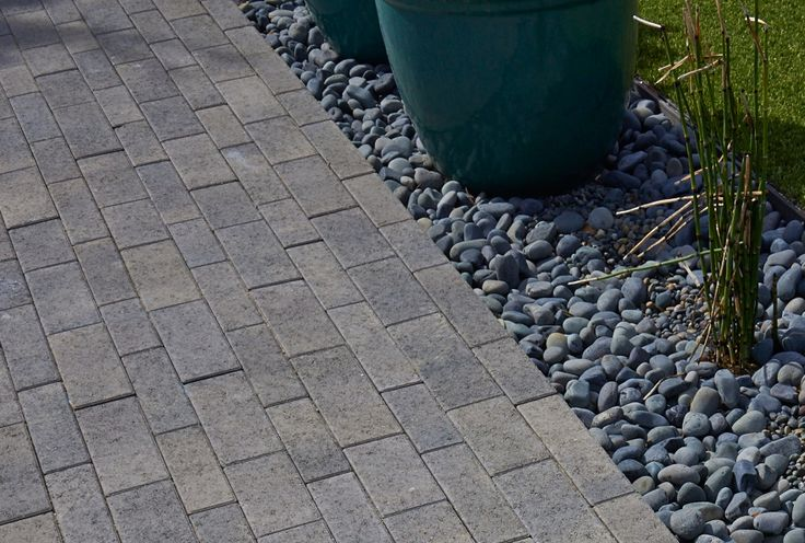 Aqualina Dark Gray Pewter Charcoal Curb Appeal Garden Pavers Modern Design