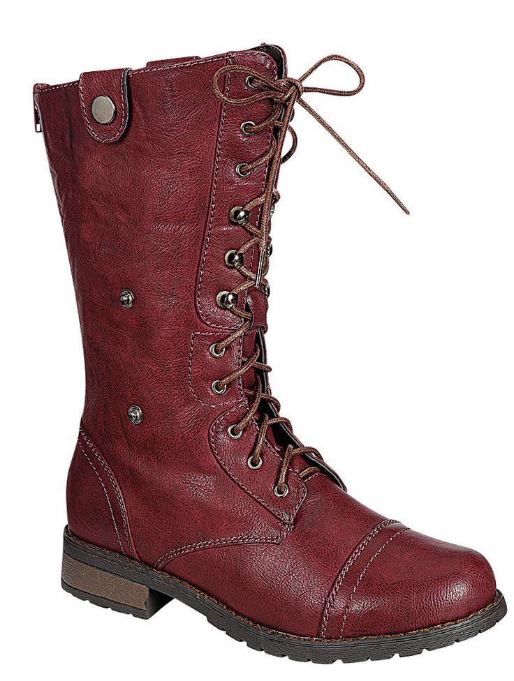 Mid-Calf Combat Booties w/ Foldable Lace Up Shaft - BURGUNDY     #Chunky #Heel #Lug Sole #Platform, #Combat, #Boots, #Grunge, #fashion, #goth, #edgy, #shoes, #footwear, #womens, #fashion, #trends, #burgundy, #Fall15