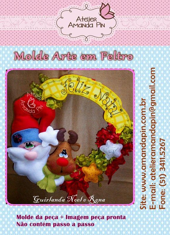 Atelier Amanda Pin - Guirlanda Noel/ Rena - MOLDE IMPRESSO