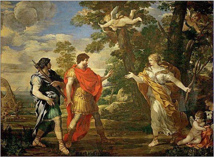 (c) - Après une nouvelle halte en Sicile et l'organisation de jeux funèbres en hommage à son père, qui y est mort un an plus tôt (chant V), Énée arrive en Italie où la sibylle de Cumes l'accompagne et le guide dans le monde souterrain des Enfers : à côté de son père Anchise, il découvre les grandeurs de la future Rome (chant VI). Arrivé au Latium, Énée veut s'y établir   - Pierre de Cortone: Vénus en chasseresse apparaît à Énée (~1631)