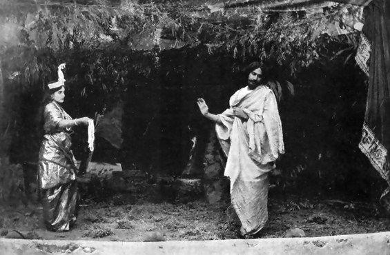 Indira Devi and Rabindranath Tagore in the Play 'Valmiki Pratibha'