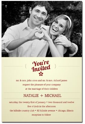 really cute, inexpensive wedding invitation- save the $$$ for the big day!!
