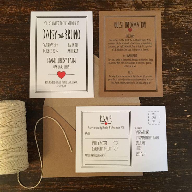 21 best Wedding Invitations images on Pinterest   Kraft wedding ...