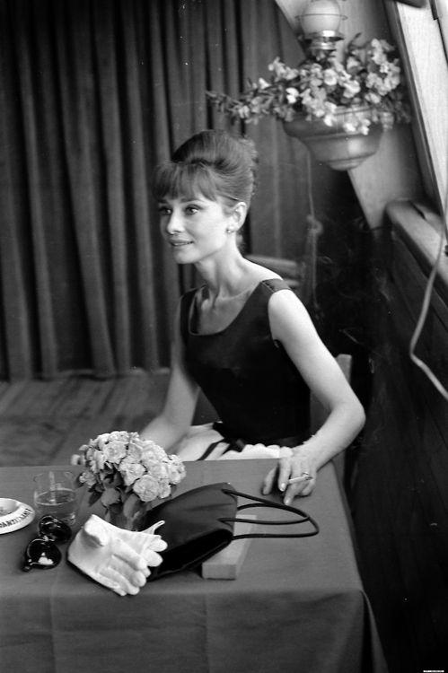 Audrey Hepburn in Paris at a media junket for the film Paris When it Sizzles, 1962.
