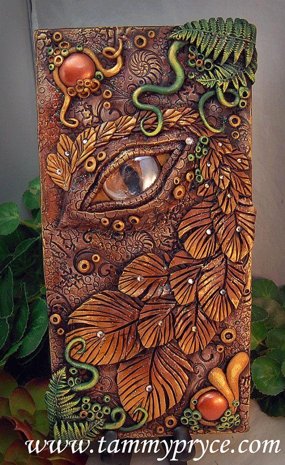 Ojo marrón de OOAK polímero arcilla Dragon y verde3 por TammyPryce