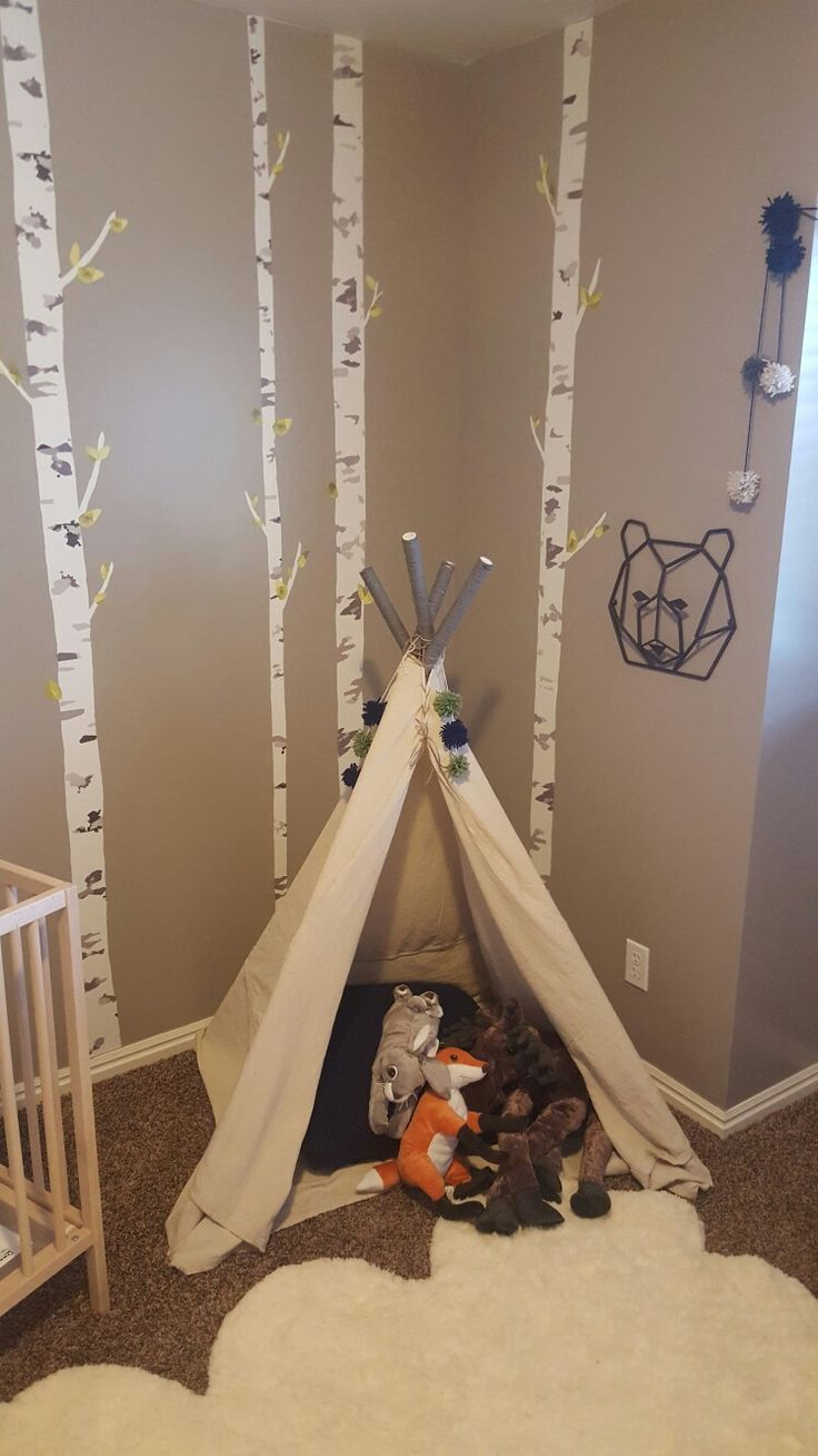 Diy teepee for baby boys nursery. Only spent $20! Used PVC pipe (covered the tips with yarn), draped the pipe with a canvas dropcloth from the paint section at Lowes.